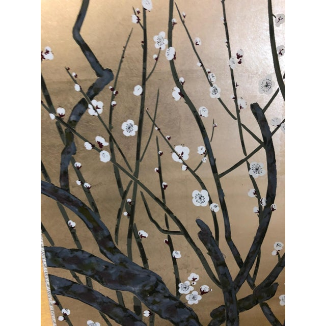 Chinese Painted Silk Cherry Blossom Screen For Sale In Detroit - Image 6 of 10