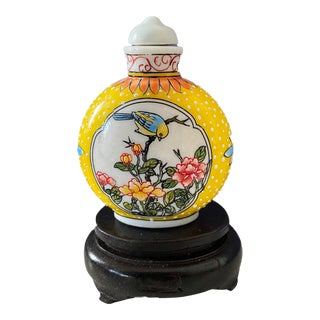 Vintage Enamel Famille Jaune Peking Glass Snuff Bottle on Stan For Sale