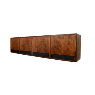 1960s Mid Century Modern Founders Furniture Walnut Floating Cabinet Credenza For Sale