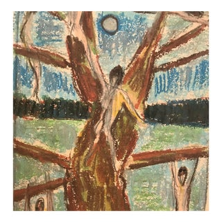 """1950s Figurative Oil Pastel Drawing """"Nudes in the Tree"""" by George Daniell For Sale"""