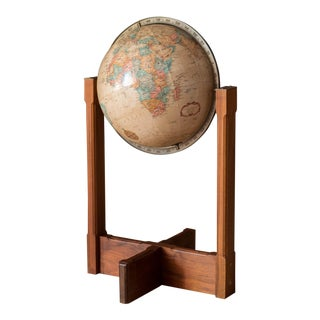 Vintage Walnut and Brass Repogle Globe Stand For Sale