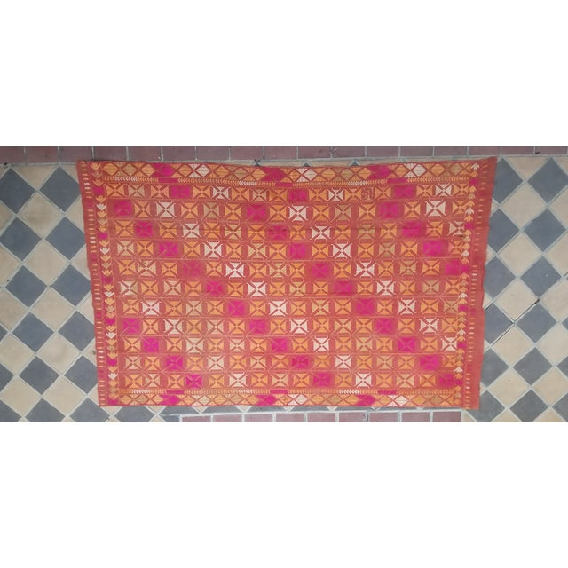 Large Antique Swat Valley Pakistani Embroidered Phulkari Silk Linen Throw For Sale In Los Angeles - Image 6 of 6