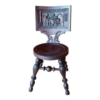 Late 19th Century Antique German Carved Dark Oak Monk Tavern Pub Chair For Sale