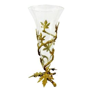 Vintage Victorian Glass Flower Vase Encased in Golden Leaves For Sale