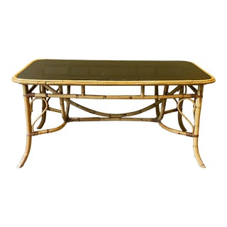 Bamboo and Smoked Glass Dining Table, 1970s For Sale