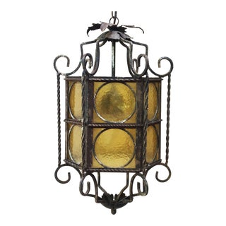 Circa 1940 Iron Art Deco Lantern For Sale