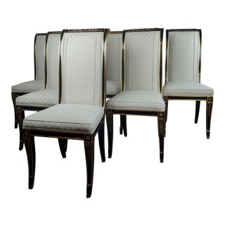 1960s Vintage Regency Style Beautiful Ebonized & Upholstered Chairs -Set of 6 For Sale