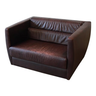 Roche Bobois Bauhaus Style Leather Loveseat or Cube Chair, 1970s For Sale