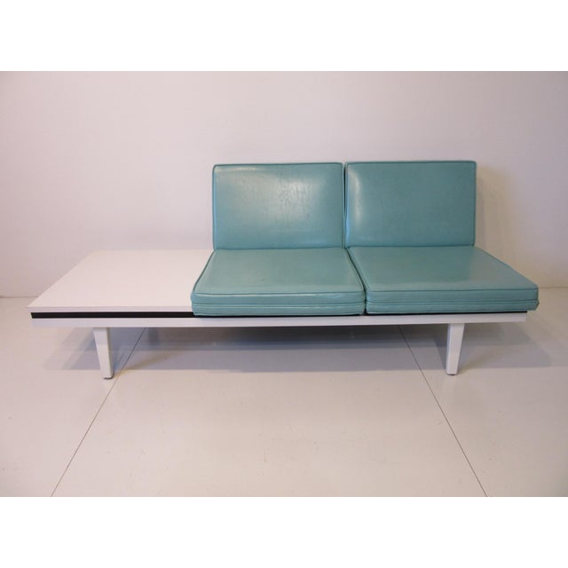 Wood George Nelson Steelframe Two Place Sofa With Side Table by Herman Miller For Sale - Image 7 of 7