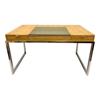 Modern Milo Baughman Pencil Bamboo and Chrome Desk For Sale