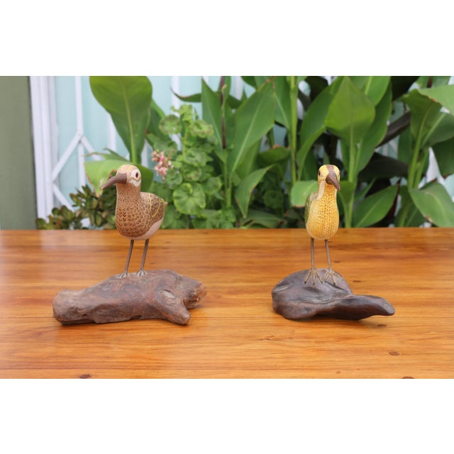 Folk Art Folk Art Shorebird Sculptures - A Pair For Sale - Image 3 of 7