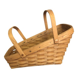 1990s Longaberger Slanted Woven Basket For Sale