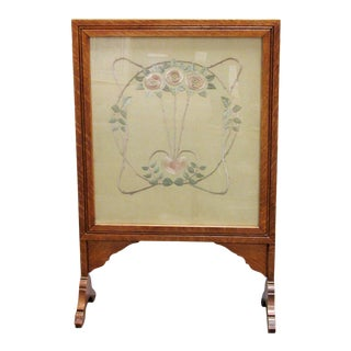 Arts and Crafts Tiger Oak and Embroidery Fireplace Screen For Sale