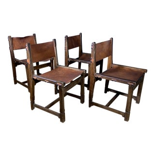 Four French 1940s Saddle Leather & Oak Dining Chairs For Sale