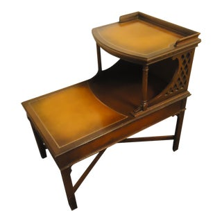 1950s Art Nouveau Grand Rapids Mahogany and Leather Top Step End Table For Sale