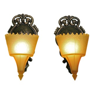 1930s Art Deco Frankelite Wall Sconces - a Pair For Sale