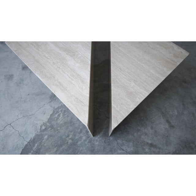 2-Piece Tiered Post-Modern Italian Travertine Coffee Table For Sale - Image 9 of 10