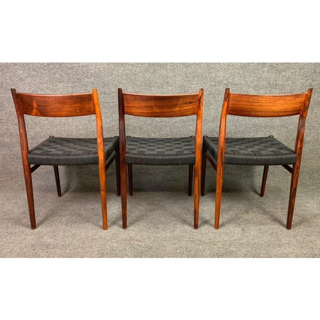 Set of Six Vintage Mid Century Danish Modern Rosewood Dining Chairs Model #418 by Arne Vodder for Sibast For Sale - Image 9 of 12