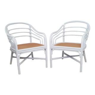 Brown Jordan Rattan Coastal Bamboo Lounge Chairs - a Pair For Sale