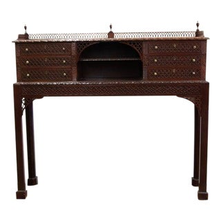 Chippendale Mahogany Console with Blind and Open Fretwork For Sale