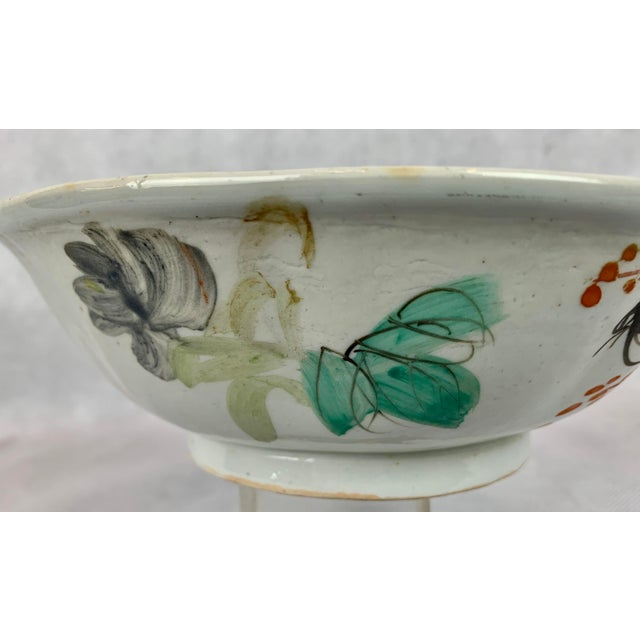 1920s Chinese Porcelain Bowl With Flowers and Poem on the Reverse For Sale - Image 5 of 8