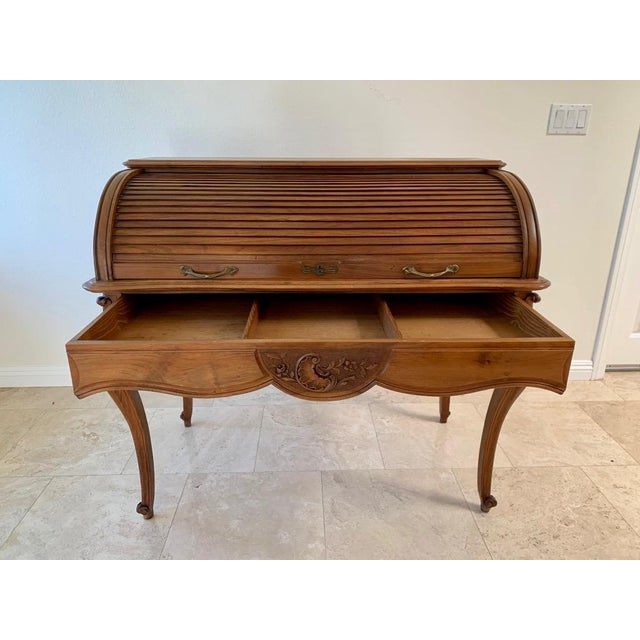 Antique French Walnut Tambour Top Desk For Sale In Dallas - Image 6 of 13