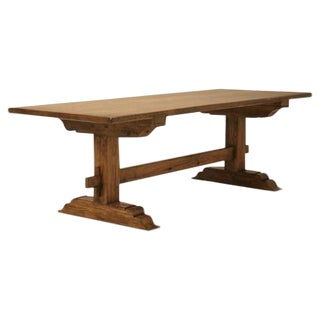 Italian Style Farm Table Made From Old European Lumber For Sale