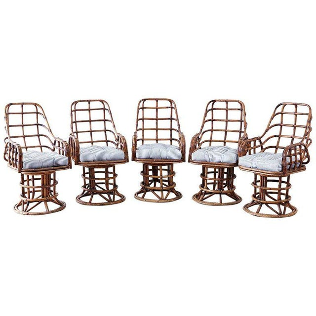 Franco Albini Style Bamboo Rattan Swivel Lounge Chairs For Sale - Image 13 of 13