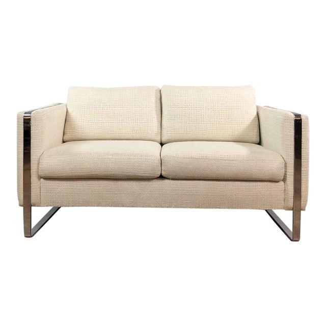 Mid Century Modern Milo Baughman Chrome Framed Love Seat For Sale