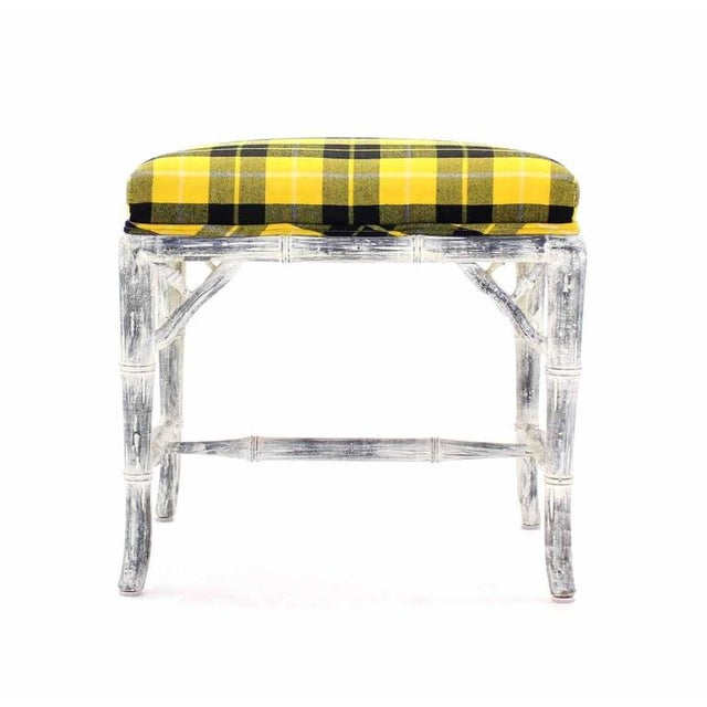 Early 20th Century Pair of Faux Bamboo White Wash Finish Yellow Black Plaid Upholstery Benches For Sale - Image 5 of 7