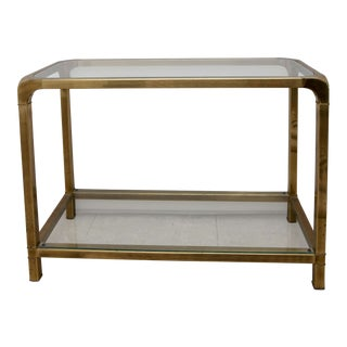 1970s Art Deco Mastercraft Petite Brass Console Sofa Table For Sale
