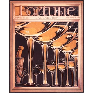 """A. PETRUCCELLI Fortune Cover (January 1937) 30"""" x 24"""" Poster 1998 Vintage Orange, Brown Glass, Bottle, Alcohol, Drink For Sale"""