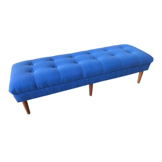 Mid Century Modern Blue Bench For Sale