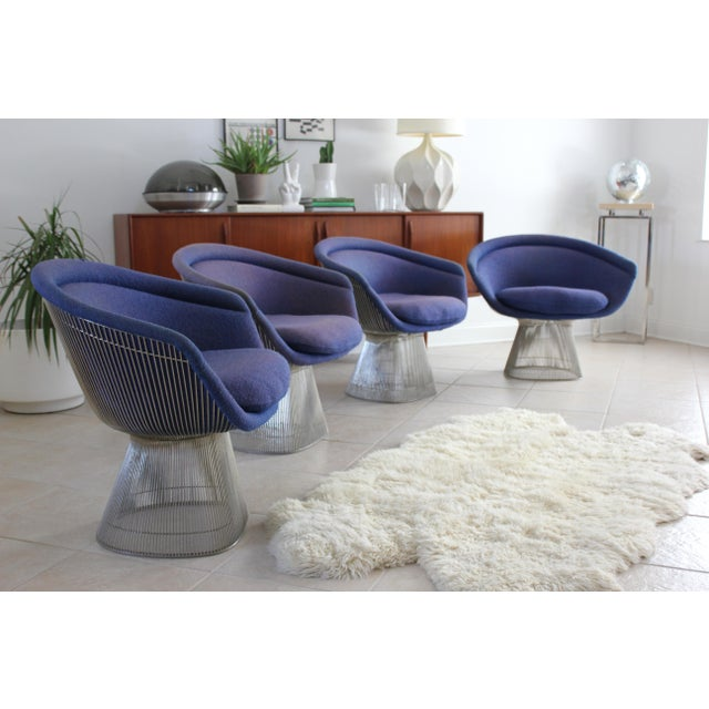 Warren Platner for Knoll Blue Upholstered Platner Lounge Chairs- a Pair For Sale - Image 5 of 10