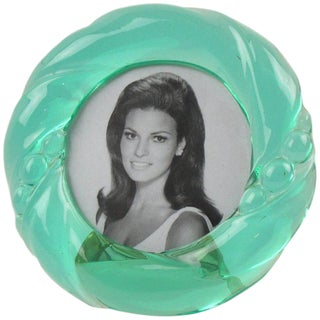 Italian 1970s Transparent Aqua Green Lucite Round Picture Photo Frame