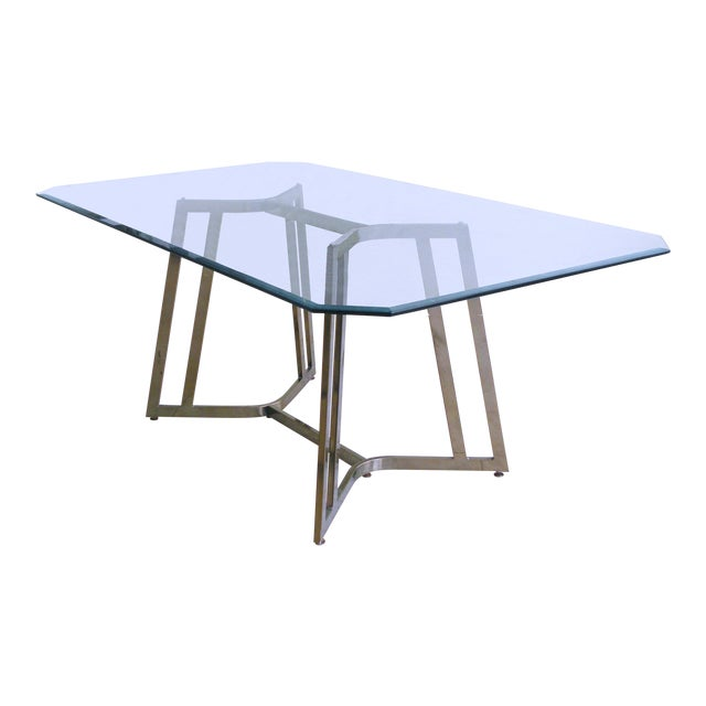 Mid-Century Modern Mastercraft Space Age Brass & Glass Dining / Conference Table For Sale