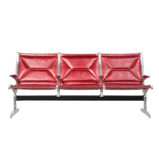 Eames for Herman Miller Tandem Sling Bench in Red Edelman Leather For Sale