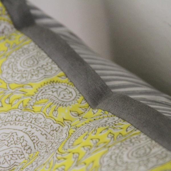 Boho Chic Cotton Block Print Pillow For Sale - Image 3 of 6