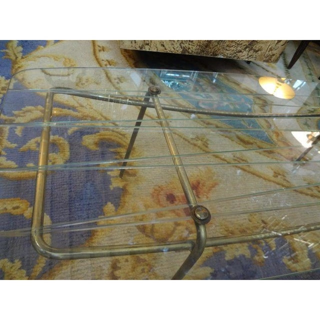 Italian Gio Ponti Inspired Brass and Glass Coffee Table For Sale - Image 10 of 13