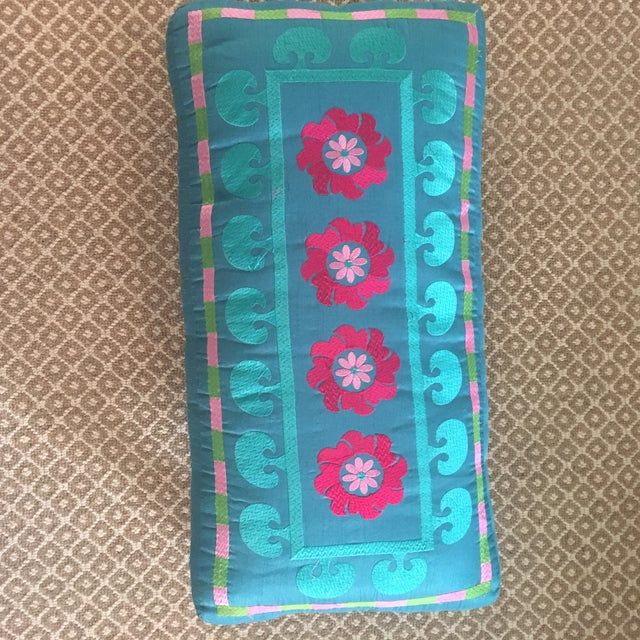 Boho Chic 1980s Boho Chic Embroidered Turquoise Footstool For Sale - Image 3 of 9