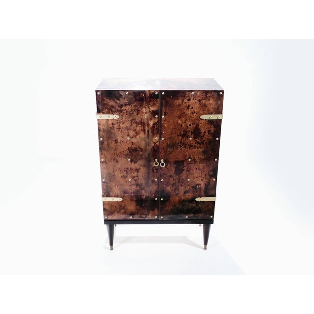Aldo Tura Bar Cabinet in Goatskin Parchment by Aldo Tura, 1960s For Sale - Image 4 of 12