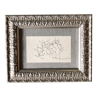 Original Vintage 1970's Small Robert Cooke Abstract Ink Drawing Framed For Sale