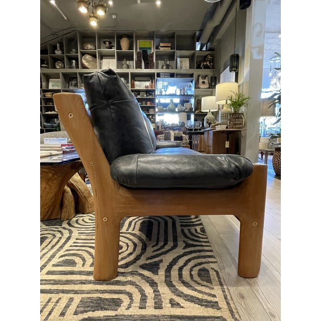 Mid 20th Century MCM Danish Sofa in Black Leather For Sale - Image 5 of 13
