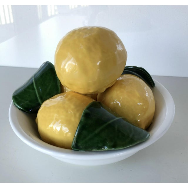 1970s Vintage Trompe l'Oeil Bertinazzo Italy Ceramic Bowl of Lemons With Leaves For Sale - Image 5 of 12