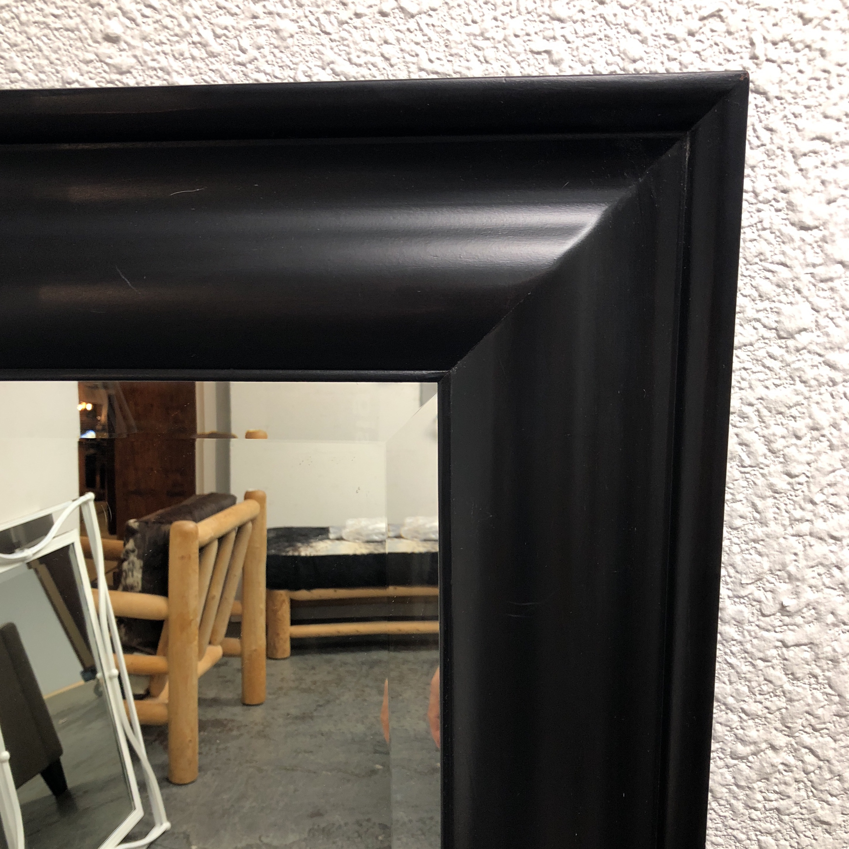 Contemporary Contemporary Bassett Furniture Black Finish Wooden Wall Mirror  For Sale   Image 3 Of 6