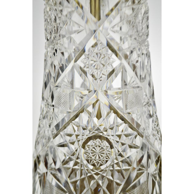 Transparent Victorian Style Cut Glass Pitcher Table Lamp For Sale - Image 8 of 13