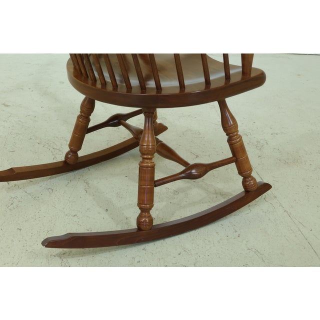 1990s Frederick Duckloe Cherry Fan Back Windsor Rocking Chair For Sale - Image 5 of 10
