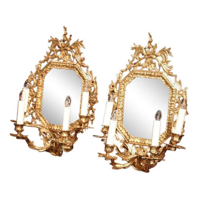 19th Century French Napoleon III Bronze Sconces With Beveled Glass - A Pair For Sale