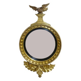 Early 19th Century Vintage Gilt Carved Convex Mirror For Sale