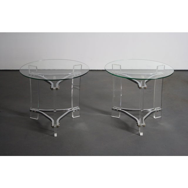 Hollywood Regency Charles Hollis Jones Lucite End Tables - Pair For Sale - Image 3 of 8